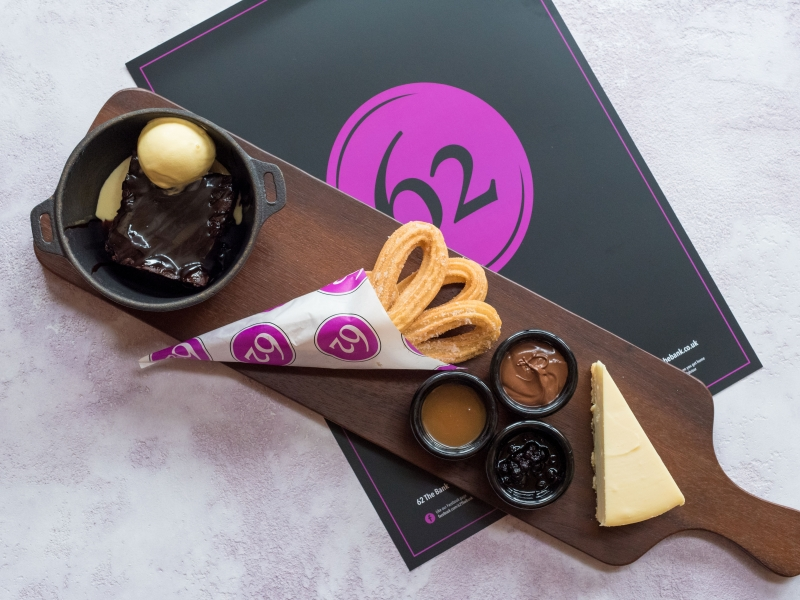 Taster board, Churros with Butterscotch & Nutella, Chocolate brownie, new york cheesecake